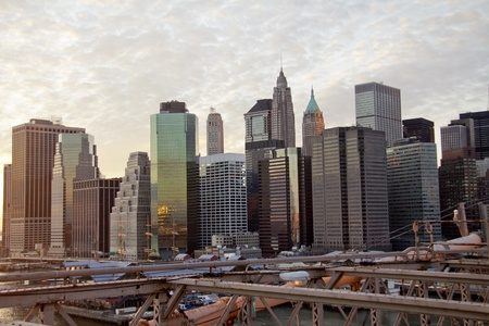 Brooklyn Bridge and Lower Manhattan closeup with skyscrapers and city skyline in the background, New York City  Stock Photo - 13159733
