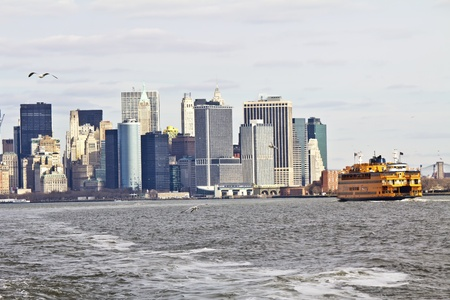 Lower Manhattan seen from Staten Island ferry - New York, United States  photo