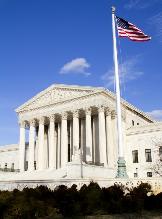 court: Facade of US Supreme court in Washington DC on sunny day