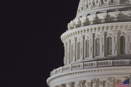 domes: US Capitol building dome, details, at night, Washington DC, United States