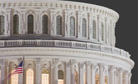 election night: US Capitol building dome, details, at night, Washington DC, United States