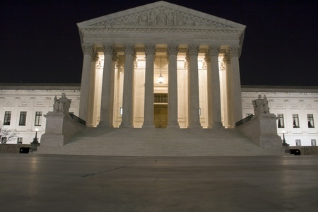USA Supreme Court building in Washington, D C  at night  photo