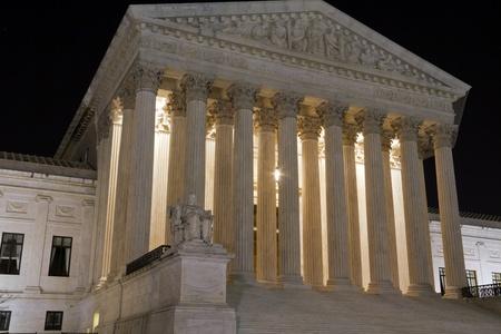 USA Supreme Court building in Washington, D C  at night