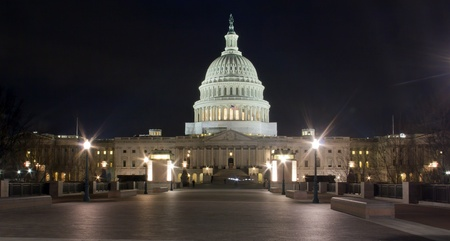 the capitol: US Capitol building at night, Washington DC  - Eastern facade