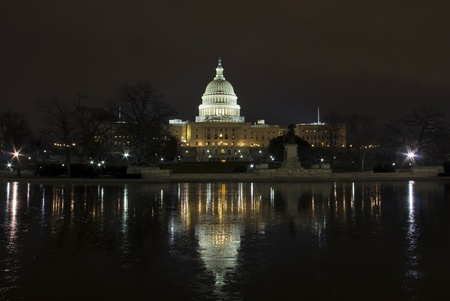 US Capitol Congress House Representatives Senate Night Reflections Washington DC  Stock Photo