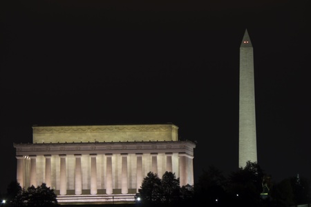 election night: Washington DC - Monument and Capitol building in the night Stock Photo