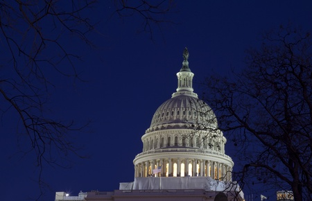 US Capitol Building Dome at dusk, blue sky Washington DC  United States Of America  photo