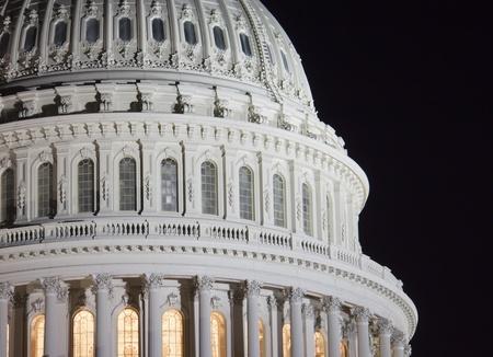 Washington DC The Capitol Building genomen in de nacht Stockfoto