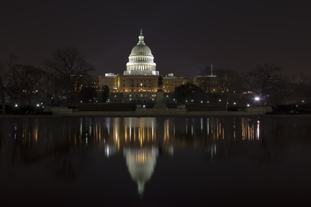 US Capitol Building in Washington DC in the night  Stock Photo