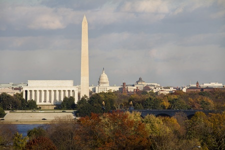 View of Washington DC with Capitol, Washington Monument and Lincoln Memorial in line
