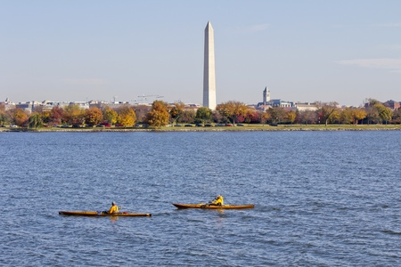 rowing on potomac river,Washington Monument in the background DC, United States