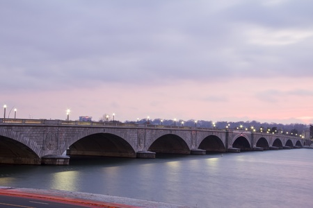 Arlington Memorial Bridge in Washington DC , at dusk