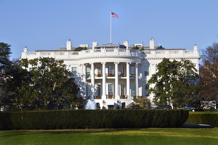 state election: The White House in Washington DC with beautiful blue sky