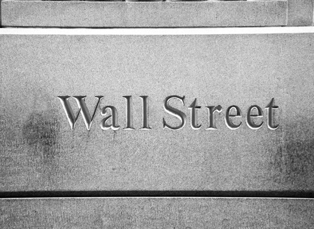 New York City Wall Street road sign in downtown Manhattan with skyscrapers Stock Photo - 13423486