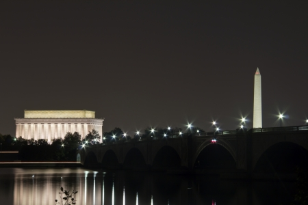 Abraham Lincoln Monument, Arlington Memorial Bridge and Washington Monument with reflection on Potomac River at sunset, Washington, DC, United States, at night  Stock Photo