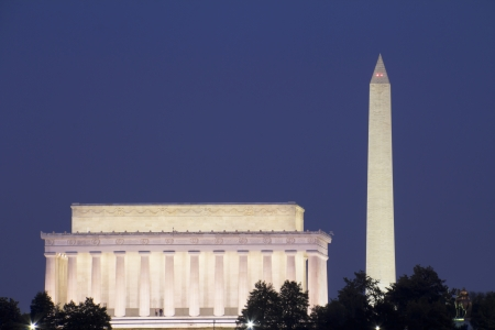 Abraham Lincoln Memorial and Washington Monument, at sunset, Washington, DC, United Stock Photo