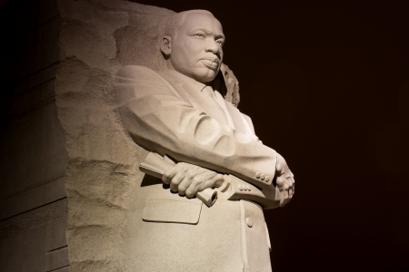 Martin Luther King Jr  Monument in Washington DC , at night  photo