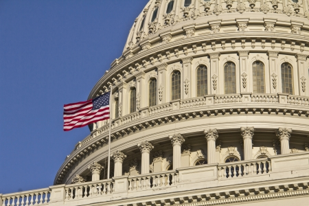 Washington DC, United States ,US Capitol Building Dome detail with American Flag,  Stock Photo