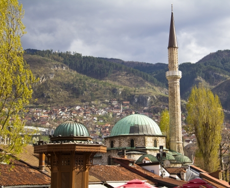 Famous fountain and Old mosque,  Bascarsija, Sarajevo  photo