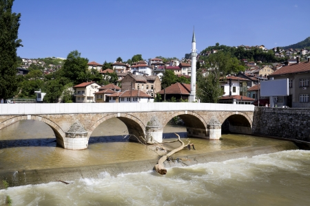 Bridge on Miljacka river, Sarajevo,  the capital city of Bosnia and Herzegovina Stock Photo - 14243855