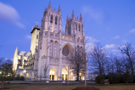 Washington National Cathedral, at dusk, DC, United States  photo