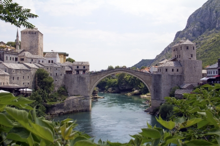Mostar, old town bridge,  Bosnia and Herzegovina  photo