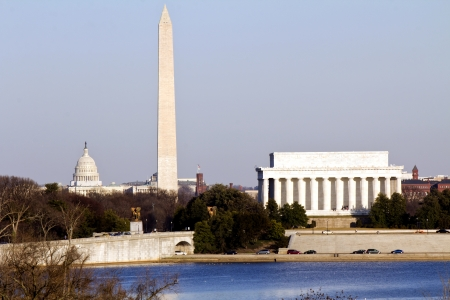 national monuments: Lincoln Memorial, Washington Monument and Capitol building in line before sunset sunset