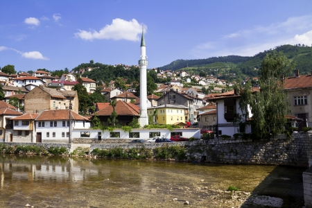 Bridge on Miljacka river in Sarajevo the capital city of Bosnia and Herzegovina  Stock Photo