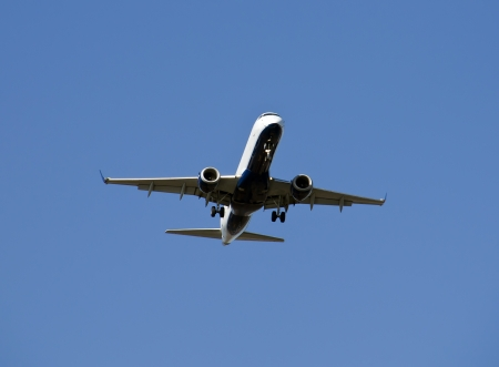 Air plane is flying, With blue sky photo