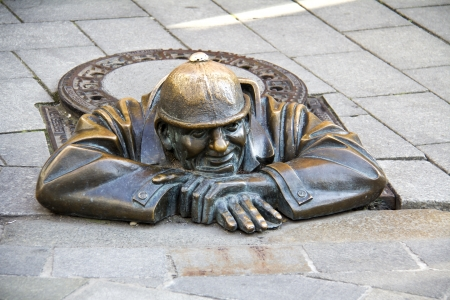 cumil - gazer - most photographer sculpture in Bratislava, capital city of Slovakia  Stock Photo