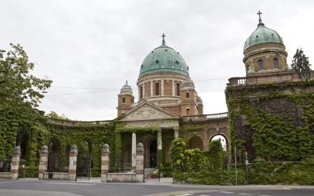 The main entrance to Mirogoj cemetery and Church of Christ the King, Zagreb, Croatia