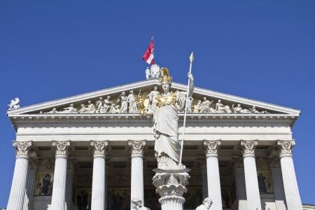 Austrian Parliament with Pallas Athene, landmark of Vienna
