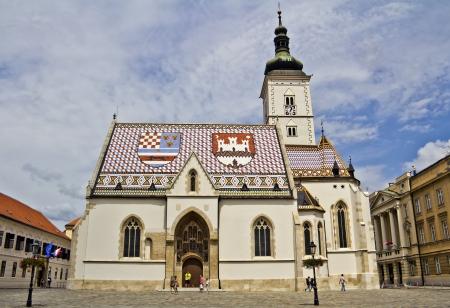 corner clock: St  Mark s Church in Zagreb, Croatia