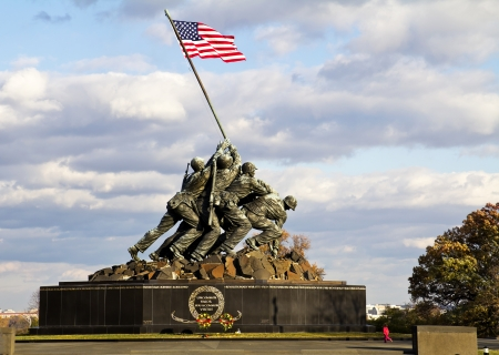 Iwo Jima Memorial in Wash DC, USA  Memorial dedicated to all personnel of United States Marine Corps who have died in defense of their country since 1775 Editorial