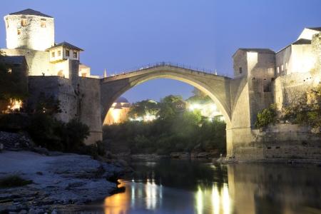 mostar: Old Bridge in Mostar at night, Bosnia and Herzegovina