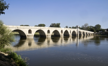 edirne: Meric River and the bridge in Edirne, Turkey