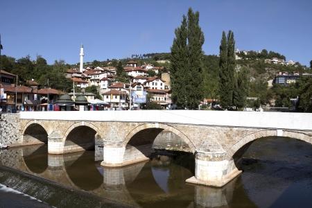 saraybosna: Bridge on Miljacka river in Sarajevo the capital city of Bosnia and Herzegovina
