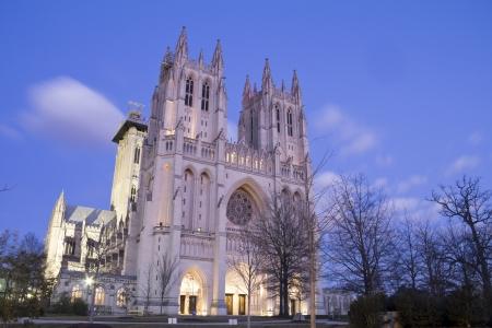 ワシントン国立大聖堂、DC、アメリカ合衆国、夜景