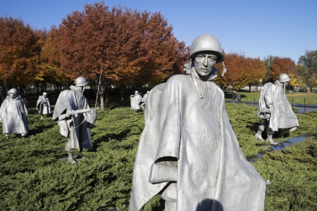 Korean War Memorial at Washington Mall in Washington DC, The memorial represent squad on patrol in the Korean War, a war between South Korea and North Korea  photo