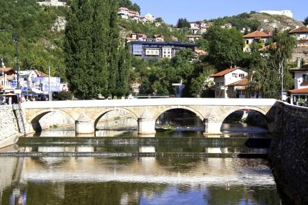 saraybosna: Bridge on Miljacka river in the city center of Sarajevo the capital city of Bosnia and Herzegovina Stock Photo