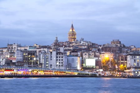 istanbul night: Istanbul, Galata tower and bridge at night