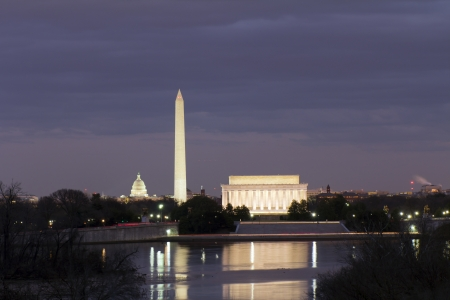 View of Washington DC with Capitol, Washington Monument and Lincoln Memorial, reflection on potomac river, at sunset photo