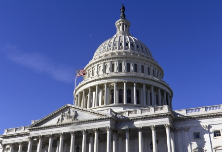lobbyists: Capitol, located in Washington, DC, is the building in which the US Congress meets  It is at the east end of the National Mall  Stock Photo