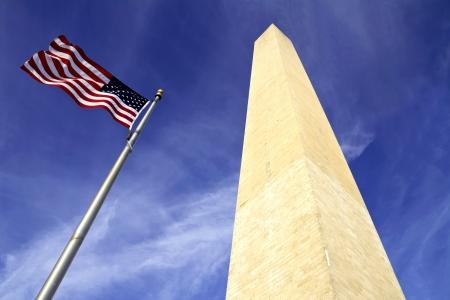 US flag near Washington Monument, Washington DC photo