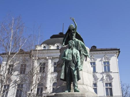 Statue of poet France Preseren, in the capital city Ljubljana, Slovenia
