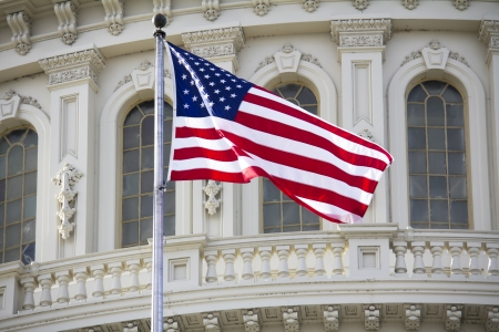 lobbyists: Washington DC , Capitol Building with American Flag - detail, US