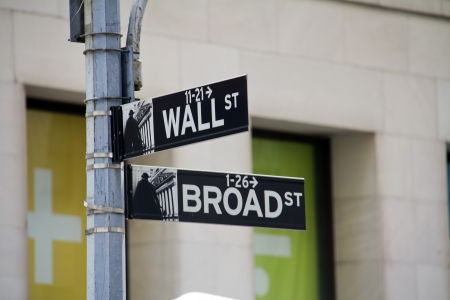 Street sign of New York Walls street   Broadway  Banque d'images