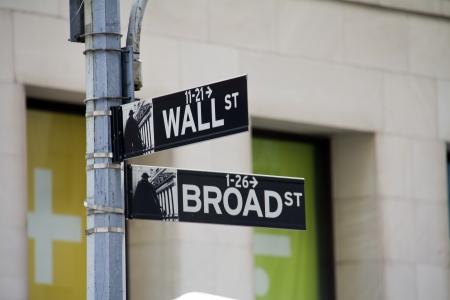 Street sign of New York Walls street   Broadway  photo