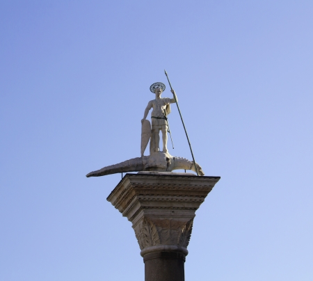 Statue of St Theodore, who was the patron saint of Venice until the 9th century AD   photo