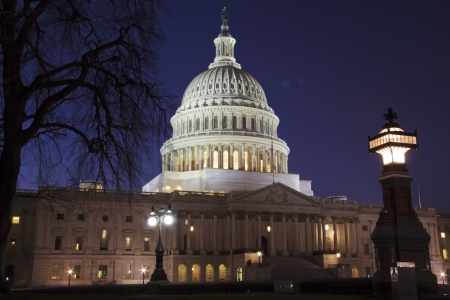 election night: US Capitol building dome, details, at night, Washington DC, United States Stock Photo